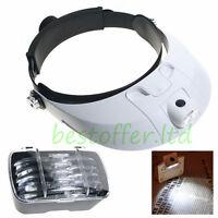 Headband Headset Head LED Lamp Light Jeweler Magnifier Magnifying Glass Loupe