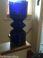 Riihimaki/Riihimaen Lasi Oy Tamara Aladin 1472 Large glass vase Blue