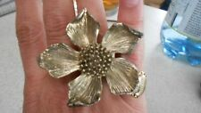 WILD HARVEST ANTIQUE GOLD PEONY RING, AGED ORNATE SCULPTURE, SIZE O