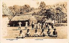 Fiji Island Village Children Real Photo RPPC Postcard