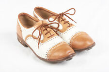 Womens WALTER GENUIN Golf Shoes Sz 8 B in Caramel Brown & White Spectators Italy