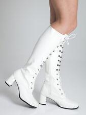 Knee High White Boots - Fashion Eyelet Boots - Size 11 UK - White Matt