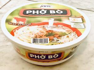 4 Bowl x 2.4oz] Jans Vietnamese Style Beef Pho Bo Instant Rice Noodle Soup Halal