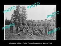 OLD 8x6 HISTORIC PHOTO OF CANADIAN ARMY MILITARY POLICE GROUP c1916