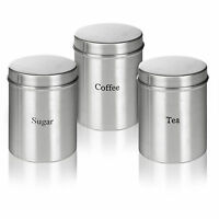 3Pc Stainless Steel Storage Jars Sugar Coffee Tea Kitchen Storage Canisters Set