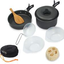 8pcs Outdoor Camping Cookware Cooking Picnic Bowl Pot Pan Set USA