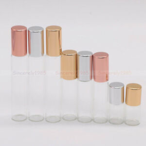 Clear Glass Roll on Bottles 1ml 2ml 3ml 10ml Metal Roller Perfume Essential Oils
