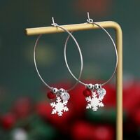 Fashion Crystal Silver Snowflake Earrings Hoop Drop Women Jewellery Xmas Gifts