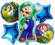 (5) Pc Super Mario Bros Luigi Balloons Party Birthday Supplies