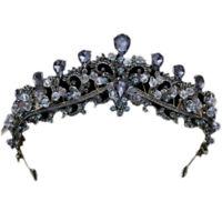 Baroque Black Wedding Tiara Headband Rhinestones Bridal Hair Accessories Vi K2I6
