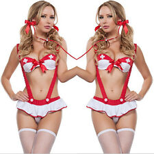 Women Lace Lingerie Set Babydoll Underwear Nightwear Triangle Bra G-string Suit