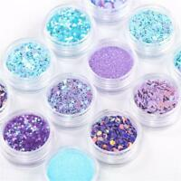 12Pots/set Mermaid Half Pearls Star Moon Laser Sequins Glitters Nail Art Decors