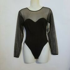 Vintage Gaviota black 90s sweetheart mesh bodysuit unitard Nwt deadstock Usa