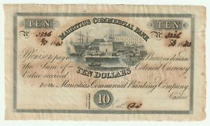 Mauritius 1843 10 Dollars ( 2 pound sterling ovrpt) P.S122 - Ink Burn - Rare