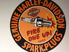 VINTAGE HARLEY DAVIDSON PORCELAIN SPARK PLUGS SIGN GASOLINE PUMP PLATE MOTOR OIL