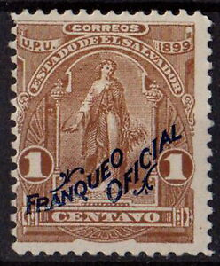 """El Salvador 1899 Sc# O149 series """"Official"""" Early Issue 1c brown STAMP MH OG"""