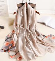 Grande Echarpe-Foulard-Châle,Cadeau Femme,100%Soie,Gris-Multicolor,Élégant,Mode