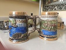 LOT OF 2, NIAGARA FALLS/CANADA HANDPAINTED BEER STEINS, JAPAN, EXCELLENT COND.