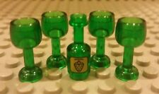Lego NEW Minifigure Wine Bottle With 4x Green Goblets