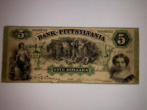 1861 $5 Bank Of Pittsylvania Virginia-AFFORDABLY PRICED