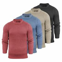 Mens Jumper Brave Soul Surgeon Chunky Cable Knit Crew Neck Sweater