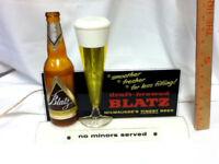 Blatz beer sign 1957 lighted back bar bottle glass motion bubbler light vintage