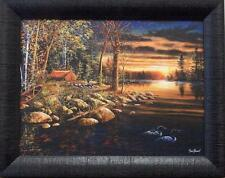 "Jim Hansel /""Northern Solitude /"" Loon Camping Lake   Print  10/""W x 6.5/"""