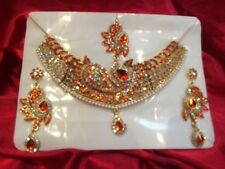 Bollywood Indian Bridal Necklace Earrings Tikka Jewellery Gold White Orange N72