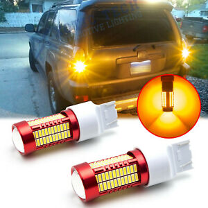 7443 7440 T20 3000K Amber 106 SMD LED Turn Signal Lights For Mazda Chevy Toyota