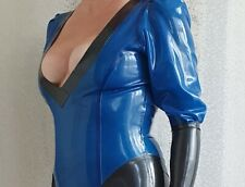 Latex rubber CATSUIT Fetish  TV Unisex, sissy BLACK BLUE THICKNESS 0.40MM