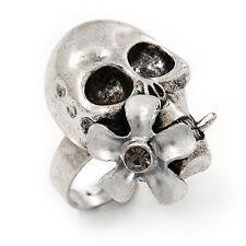 Vintage 'Skull & Flower' Ring In Burn Silver Metal (Adjustable Size 7/9) - 3