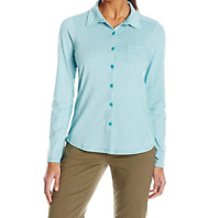 Small 4-6 prAna Women's Kinley Shirt Button Front Long Sleeve Top Tidal Teal NEW