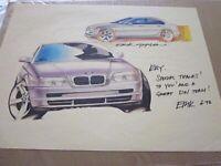 POSTER - BMW Designer Erik Goplen Signed Art June 1998 NO COA