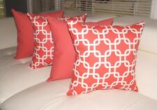 Coral Pillow, Gotcha Coral and Solid Coral Decorative Throw Pillows - Set of 4