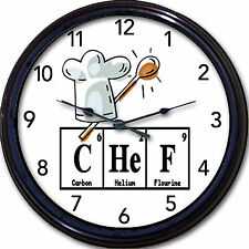 Chef Chemistry Kitchen Wall Clock Periodic Table Elements Bakery Breaking Bad