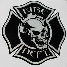 "Firefighter Decal, Skull, Reflective, Fire Department, Single 3""  #FD09"