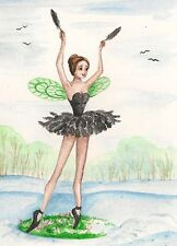 5x7 PRINT OF PAINTING WATERCOLOR CROW RAVEN FAIRY GOTHIC BALLERINA ART RYTA