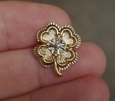 Vintage 14kt  4-Leaf clover, Yellow & White Gold & Diamond Tie Tack - 2.3 Grams