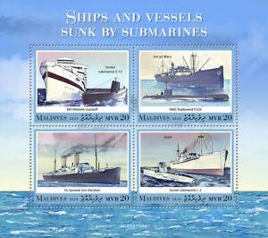 Maldives Ships Stamps 2020 MNH Vessels Sunk by Submarines Wilhelm Gustloff 4v MS