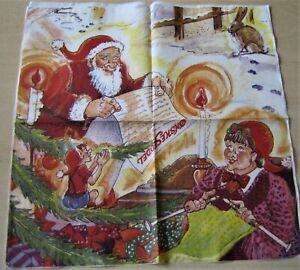 1 Lunch Papier Serviette Napkin (TX843) Nikolaus - Frau strickt Wichtel im Baum