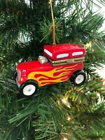 Hinged Trinket Box Ornament Porcelain Christmas HandPainted Hot Rod Car Gift Box