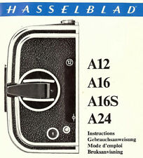 HASSELBLAD CAMERA ROLL FILM MAGAZINES A12-A16-A16S-A24 USE INSTRUCTIONS