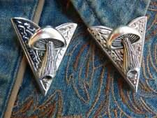 Handcrafted Mushroom 925 Silver Western Cowboy Dancewear Gothic Mens Collar Tips
