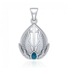 Christian Cross Blue Topaz .925 Sterling Silver Pendant by Peter Stone Jewelry