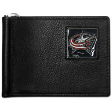 columbus blue jackets logo nhl hockey emblem leather bill clip wallet usa made