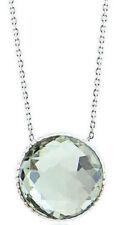 14K Oro Blanco Piedra Preciosa Collar con Verde Amatista Solitario 40.6cm
