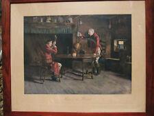 """Gravure ancienne Cecil ALDIN, scène d'intérieur """"here's to the hound"""""""