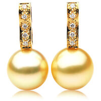 New 12mm Golden South Sea Pearl Diamond Earrings Pacific Pearls® Thank You Gifts