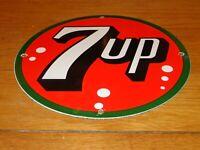 "VINTAGE 7UP UN-COLA 7 UP SEVEN UP  11 3/4"" PORCELAIN METAL SODA POP GAS OIL SIGN"