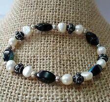 Natural Pearl Bracelet Silver AB Glass White Black Fashion F241
